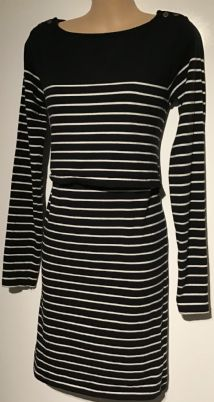JOJO MAMAN BEBE BLACK BRETON BUTTON SHOULDER JERSEY DRESS SIZE S UK 10
